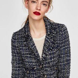 Zara Tweed Cardigan style Blazer Size M